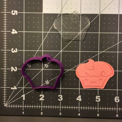 Cupcake 100 Cookie Cutter and Stamp (embossed 1)