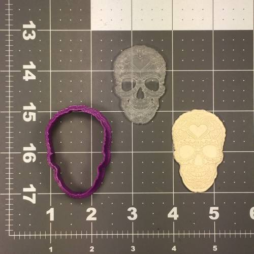 Skull 106 Cookie Cutter and Stamp Embossed (1)