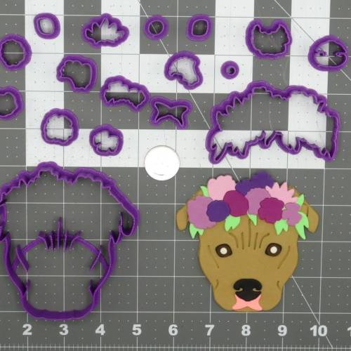 Dog - Pitbull Flower Crown Head 266-D178 Cookie Cutter Set 4 inch
